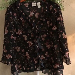 Gorgeous black sheer floral Boho top size 14
